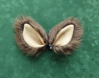 Brown Tan Faux Fur Costume Cosplay Ears Wolf Dog Coyote Cat