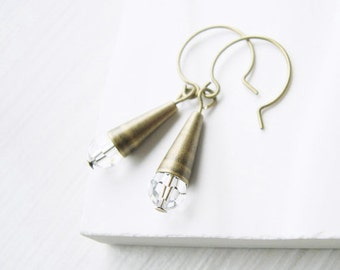 Clear Crystal Drop Earrings - Bridal Jewelry, Antiqued Brass, Simple, Modern, Gold Tone, Wedding
