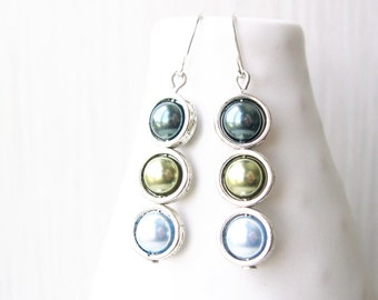 Tahitian Pearl Colored Dangle Earrings, Modern Jewelry, Sage Green, Light Blue, Drop, Sterling Silver, Contemporary, Ombre, Titanium