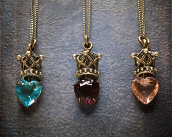 Vintage Faceted Glass Heart Pendant with Antique Brass Crown