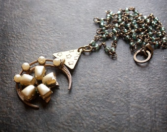 Antique Pearl Moon Pendant with Hand Stamped Brass And Teal Luster Crystal Rosary Chain