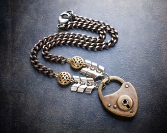 Antique Brass Heart Pad Lock Pendant Necklace with Vintage Chevron Chain and Antique Copper Curb Chain
