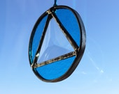 RECOVERY SUNCATCHER- Turquoise Triangle in Circle Sobriety Suncatcher, Gift for Sponsor, Recovery Gift, Milestone Gift, Sobriety Gift, Glass