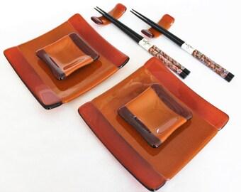 SUSHI SET - Fused Glass Set with Chopsticks, Gift Under 75, Japanese, Wedding Gift, Anniversary Gift, Birthday Gift, Sushi, Sushi Plate