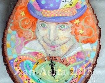 BLACK FRIDAY Sale!  REVERSE/Backwards  Running Clock Fairy Tale Folk Art Alice In Wonderland