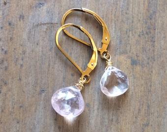 Morganite earrings - Petite Lightweight - Choose Finish