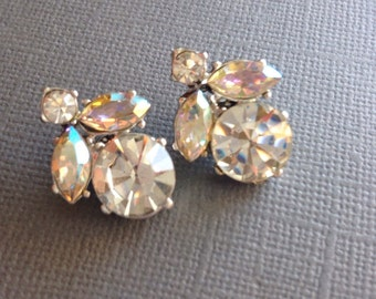 Clear Rhinestone Scatter Pins Two Small Brooches