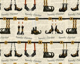 Witch Shoe Stripe - Cheeky Pumpkins from Studio E - Full or Half Yard Halloween Stripe Witch Feet