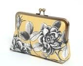 Yellow Linen Clutch Bag, Floral Clutch, Bridesmaid clutch, Weddings, Formal clutch purse, Bag Noir, Linen clutch