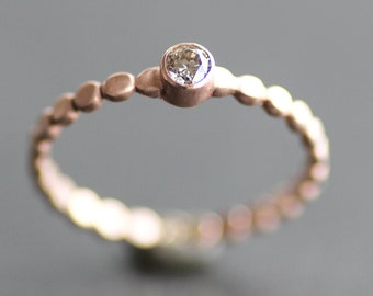 Chocolate Diamond Engagement Ring - Solid 14K ROSE Gold Pebble Band - 3mm Conflict Free Natural Brown Diamond (Size 3 - 9) - Recycled Metal