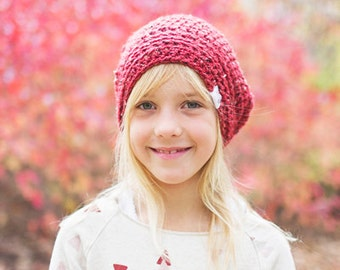 Red Hat for Girls, Crochet Slouchy Hat for Boys, Hats for Kids, Slouchy Beanie, Slouch Hat, 12 Months to Adult (Morgan)