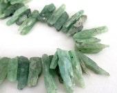 Kynite Beads - Raw Rough Stone - Green Stick Point Beads - Long Spike Kynite - Freeform Semiprecious (10) Pcs Jewelry Making