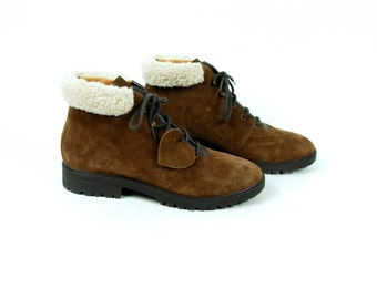 Suede Ankle Boots with Faux Shearling, Women's Size 40