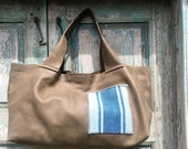 Handmade Khaki Green Leather French Market Bag Tote with a vintage French Grain Sack exterior Pocket