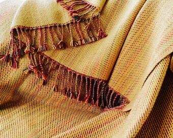 Hand Dyed Handwoven Silk Merino Throw, Luxurious Bed Throw Gold Red Green, Woven Merino Silk Blanket