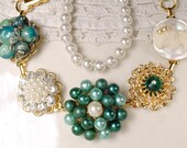 OOAK Emerald Green, Pearl & Rhinestone Gold Bridal Bracelet, Vintage Cluster Earring Charm Bridesmaid Jewelry, Personalized Wedding Gift