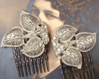 Art Deco Wedding Hair Comb Pair Art Nouveau ANTIQUE Rhinestone Leaf Bridal HeadPiece Vintage 1920s 1930s Crystal Silver Dress Clip Accessory
