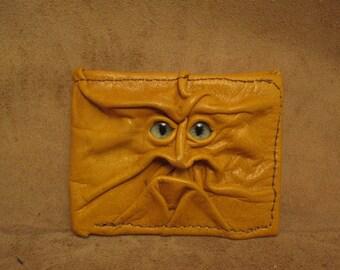 Grichels leather bi-fold wallet - mustard gold with green slit pupil eyes