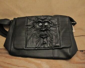 "Grichels leather messenger/shoulder bag- ""Mawik"" 27052 - black with silvery blue fish eyes"