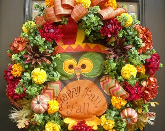 Burlap Owl Wreath, Fall Wreath, Fall Decor, Front Door Wreath Fall, Fall Owl Wreath, Thanksgiving Wreath, XL Fall Wreaths