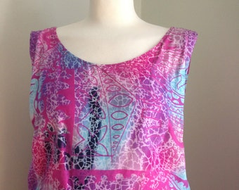 SALE Vintage 90's Batik 2 Piece set. Tank & crop pants s/m