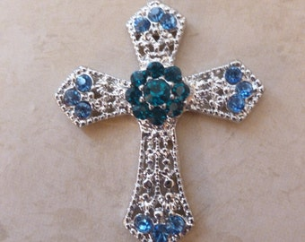 Blue and Teal Jeweled Cross Magnet