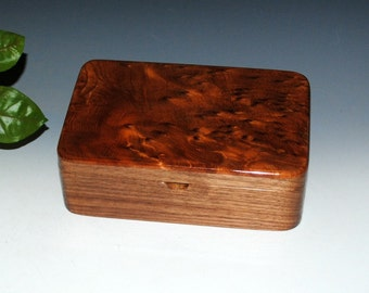 Wood Stash Box, Gift Box, Jewelry Box - Redwood Burl on Walnut - Handmade Wooden Boxes by BurlWoodBox - Small Wood Box, Handmade Wood Box