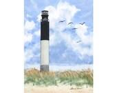 Lighthouse Watercolor Print, Oak Island, North Carolina- Fine Art Archival Limited Edition Landscape Art by Laura D. Poss