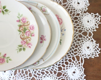 Mismatched Plates Vintage China Saucers Four Plates Wedding Bridal Shower