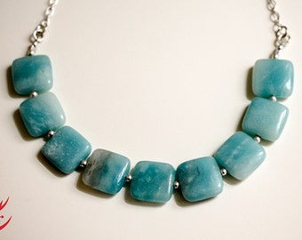 Sea foam Blue Square Amazonite Gemstone Sterling Silver Necklace, Bridal Wedding Jewelry, Something Blue