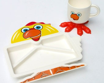 Deka Footed Chicken Cup Divided Plate Vintage Childrens Dish Set