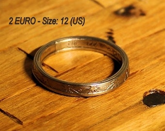 France 2 EURO (2002 yr.) Coin Ring | French EU Narrow Band Coin Ring | Size: 12 (US scale)