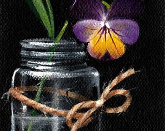 """2 1/2"""" X 3 1/2"""" ACEO   Spring to Life            Original Acrylic Painting         Artist Trading Card"""