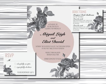 Printable Wedding Invitations - Black and White Roses - Gray and Mauve - Wedding Invite, RSVP, Directions Card - Vintage Look