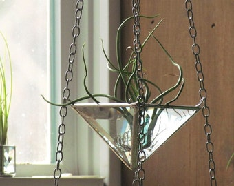 Hanging 3 Tiered Air Plant Holder Large Faceted Stained Glass Hanging Terrarium Made in Canada