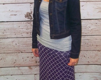 Purple / Grey Quatrefoil Maxi Skirt - Ladies Maxi Skirt - Size XSMALL ONLY - Mommy & Me Matching Maxi Skirts