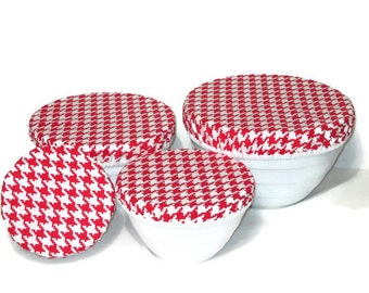 Cotton Fabric Bowl Covers -  Set of 4 Bowl Covers - Lined Fabric Bowl Covers - Red and White Houndstooth - Checked Fabric Bowl Covers