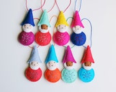 Felt Gnome, Christmas Ornament, Handmade Ornament, Elf, Colorful Holiday Decoration, Hand-stitched, ready to ship