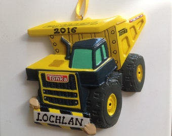 Tonka Dumptruck Personalized Boy Christmas Ornament  Construction Truck - Birthday Gift/ Gift Tag