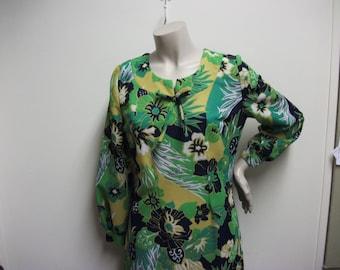 Vintage 1970's Green Flower Maxi Dress