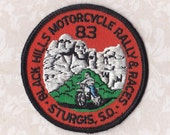 "STURGIS  RALLY PATCH, 1983, Round 3"", Vintage Harley, Motorcycle, South Dakota Iron-On for Jeans, Bags, Jackets"