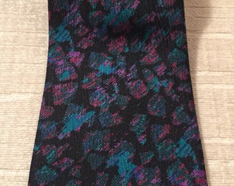 Bright Pink Purple Turquoise Mosaic on Black Vintage STEFANO MILANO Silk Necktie