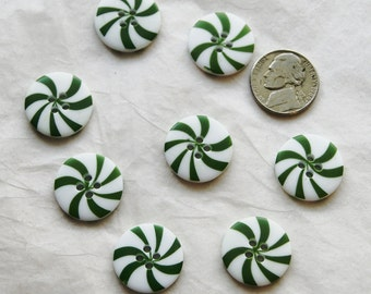 """8 Green Buttons, Christmas Peppermint Candy Matching buttons, 4 hole, 13/16"""" Sewing buttons, Crafting Jewelry Create  (X 53)"""