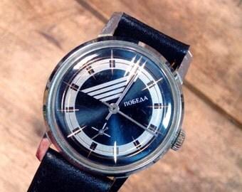 25% OFF ON SALE Wrist watch mens watch Pobeda cobalt blue watch men watch