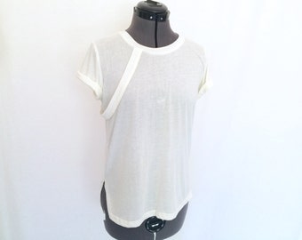 Women's High-End White T with Strap Detail