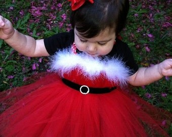 EARLY BIRD SALE Christmas Tutu Dress Santa tutu for parades pageants and pictures with matching hair bow