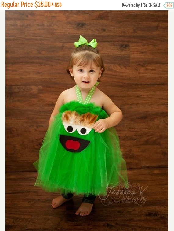 EARLY BIRD SALE Oscar the Grouch Inspired Tutu Dress for dress up playtime Made to Order