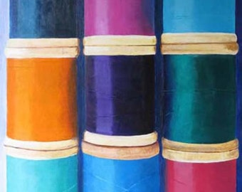 """Craft Room giclee print of original acrylic painting - """"Wooden Spools"""" - Antique Spools"""