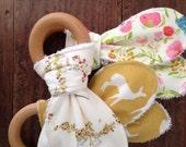 Woodland Teether Toys, Baby Girl, Arrows Flowers Florals, Elk Deer, Mustard Cream Pink Pale Blue, Gingham, Pastels, Wood Teething Ring