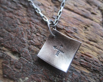 Sterling Silver Crossed Arrows Necklace!